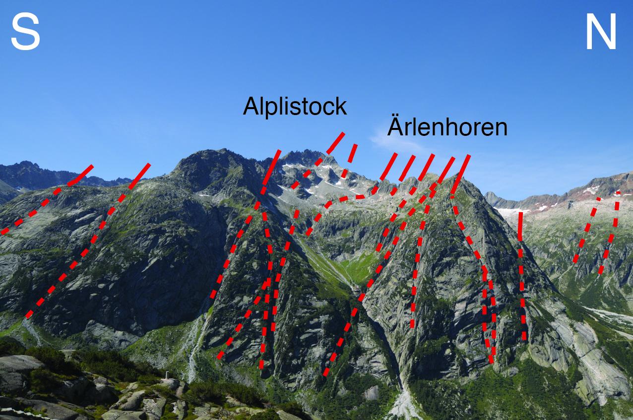 Steile Störungszonen am Arpelistock und Ärelenhoren