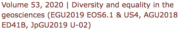 Diversity an equality in the geosciences